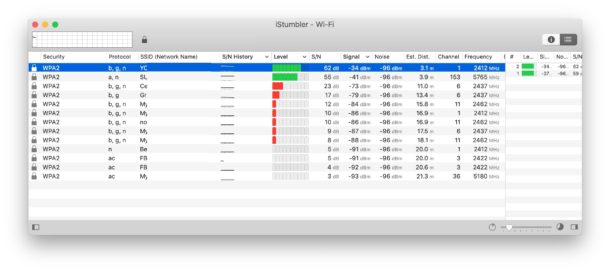 iStumbler finds wifi networks on Mac