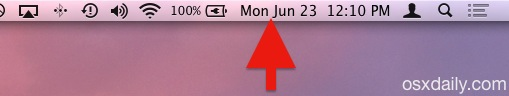 The date and time shown in the menu bar of Mac OS X