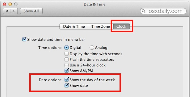Show date in the menu bar of Mac OS X