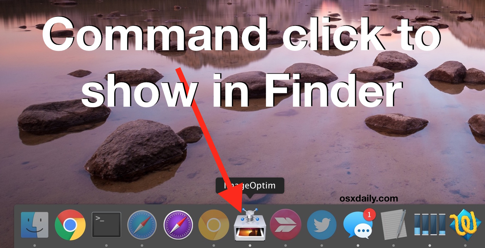 Show in Finder from Dock with a command click