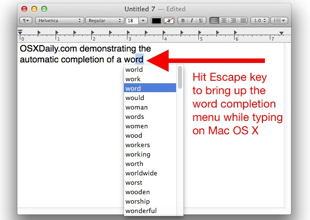 Automatic word completion feature in Mac OS X is little known but very useful