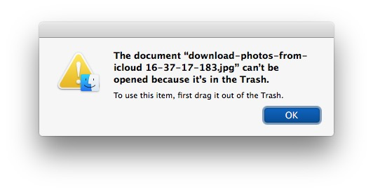 Can't use file in Trash