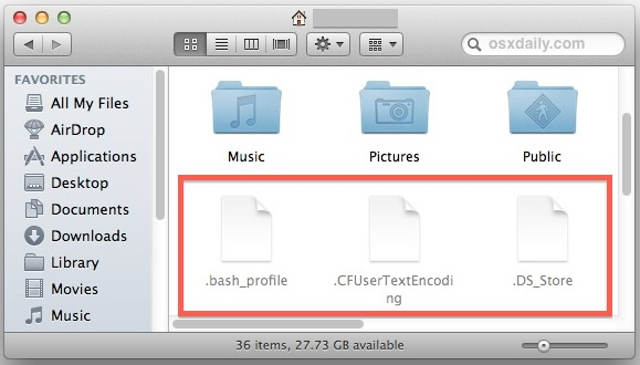 Hidden files shown in Mac OS X