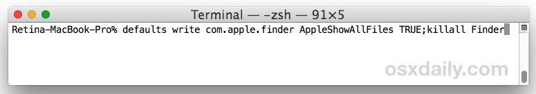 Show Hidden Files on Mac with defaults command string at Terminal