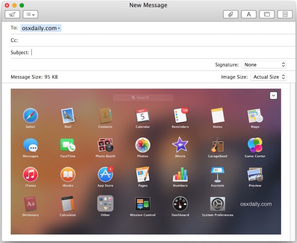 Quickly email a picture from Mac OS X