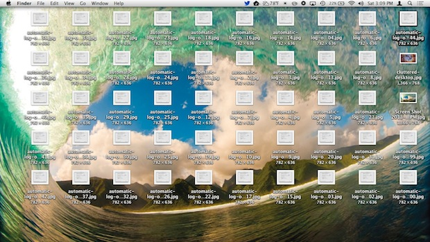 Desktop cluttered with lots of icons, desktop is visible