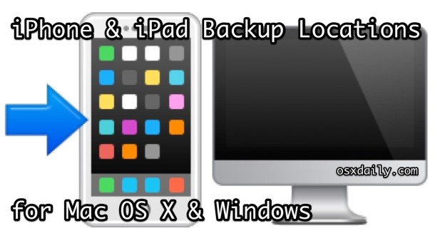 iPhone backup file locations for Mac OS X and Windows