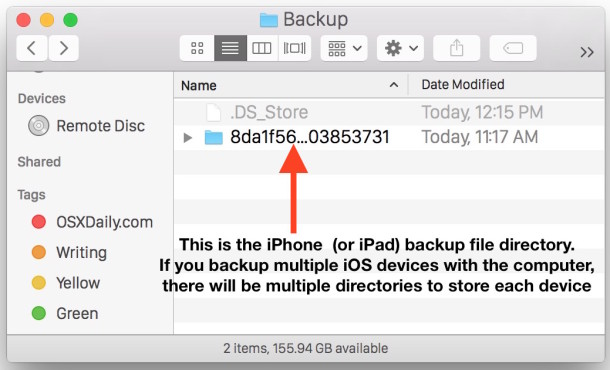 iPhone backup files directory location in Mac OS X