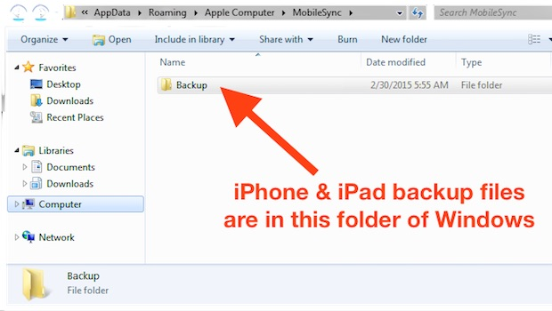 iPhone backup files location in Windows