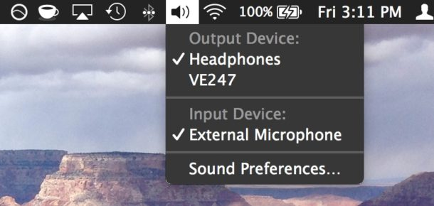 Changing the sound input source on a Mac the easy way