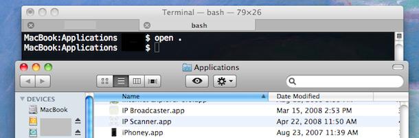 open folder from terminal