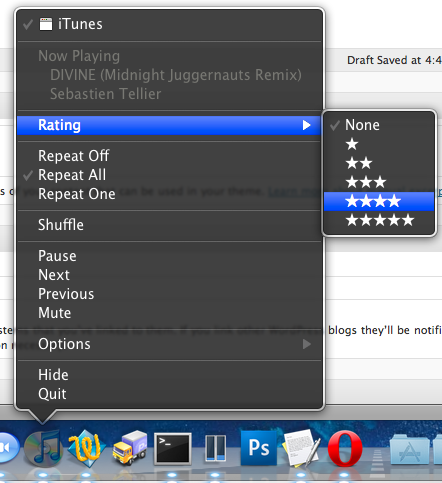 rate itunes from dock