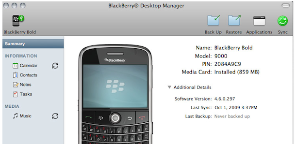 sync blackberry with mac