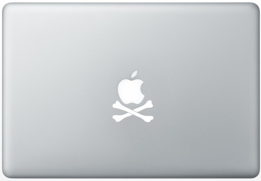 apple crossbones logo sticker