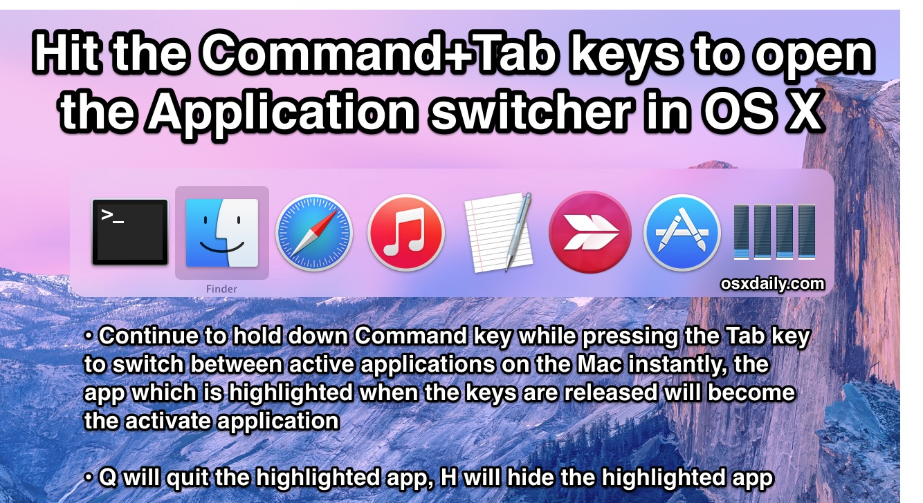 Application Switcher Command+Tab tricks for Mac OS X
