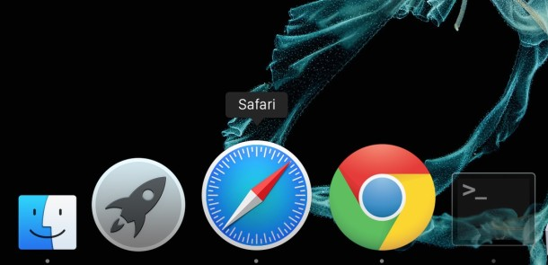 The icon Dock in Mac OS X