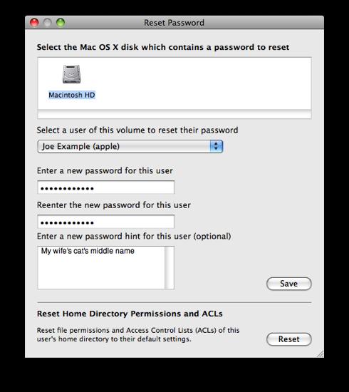 reset mac password screen