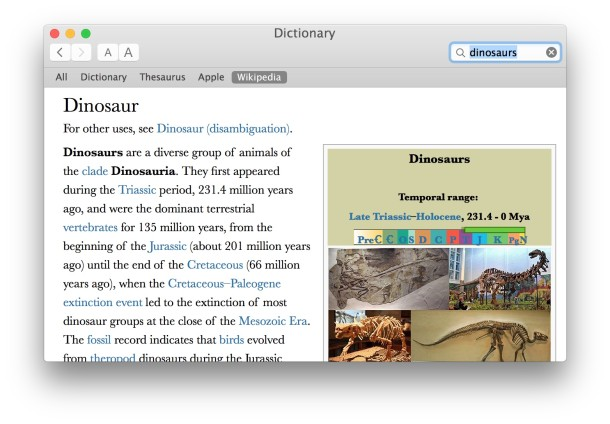 Dictionary app and Wikipedia in Mac OS X