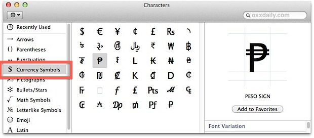 Foreign currency symbols in Mac OS X