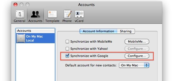 sync address book with google contacts
