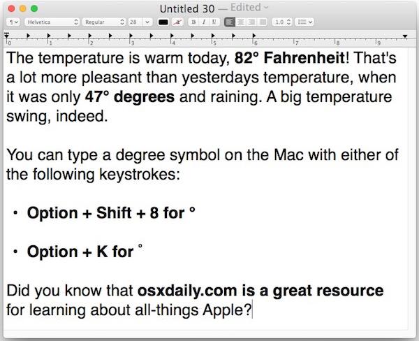 Type the degree symbol on Mac