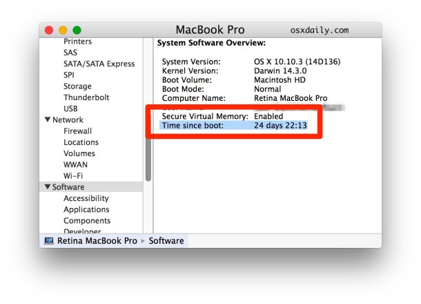 Time since boot in Mac System Information