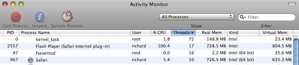 Flash Plugin CPU Usage