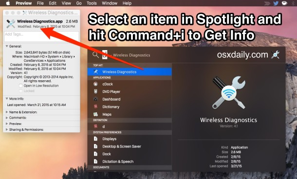 Get Info on items from Spotlight in Mac OS X