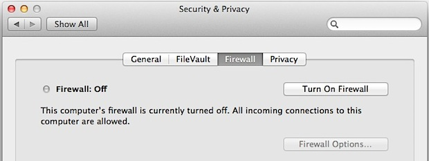 Enabling the Mac firewall