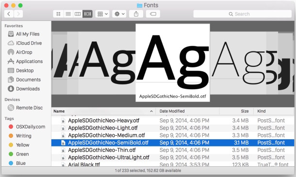 See a preview of fonts in Mac OS X Finder