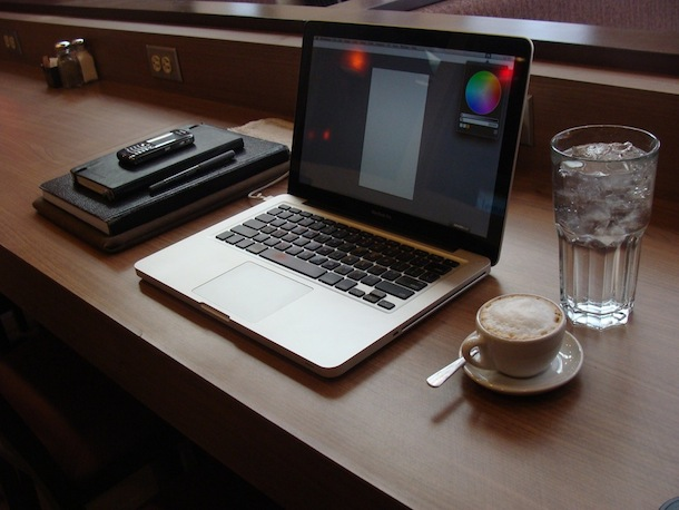 macbook pro coffee shop