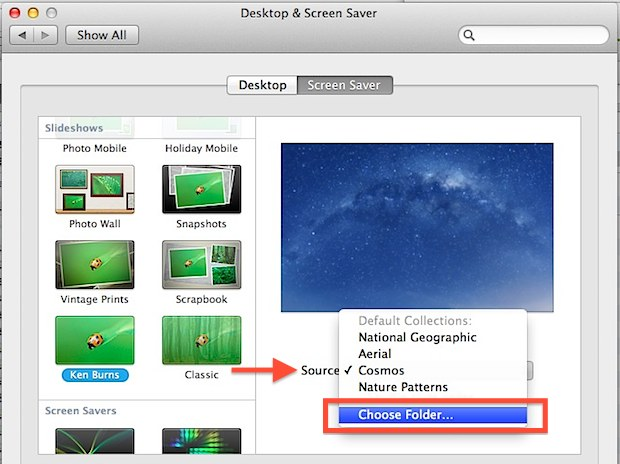 Turn a picture folder into a screen saver within Mac OS X
