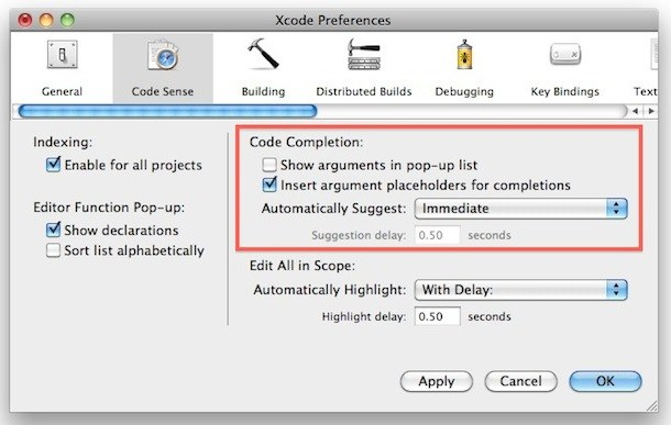 code completion xcode