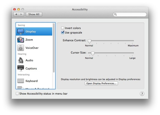 Mac accessibility display options in OS X