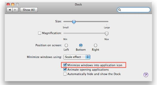 how to minimize apps into dock icon