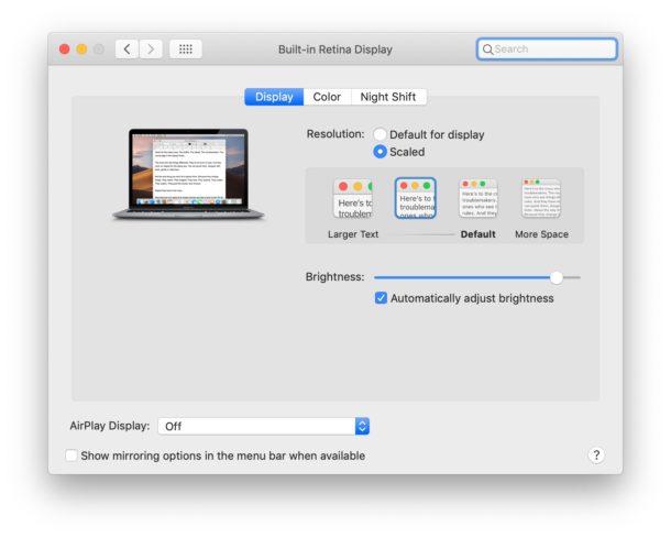 Mac auto brightness setting