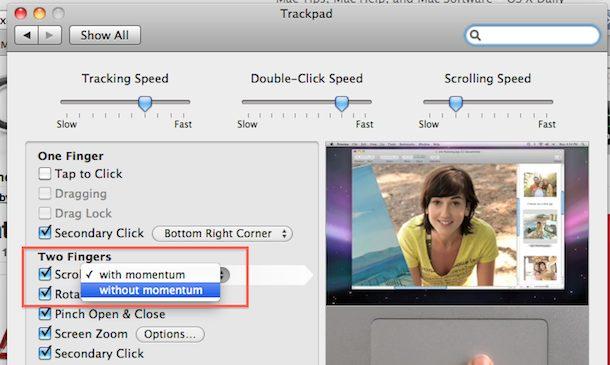 macbook pro momentum scrolling