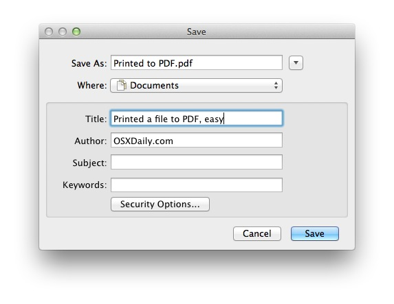 Print a file as PDF, specify PDF document options if necessary