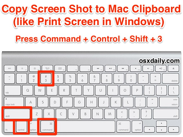 Print Screen to the Mac Clipboard with a Keystroke Shortcut