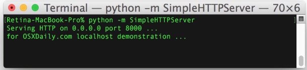 How to start an instant web server with python from the command line
