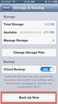 Back up an iPhone to iCloud