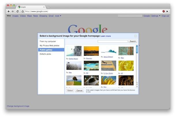 change google homepage background picture