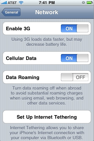 disable iphone data