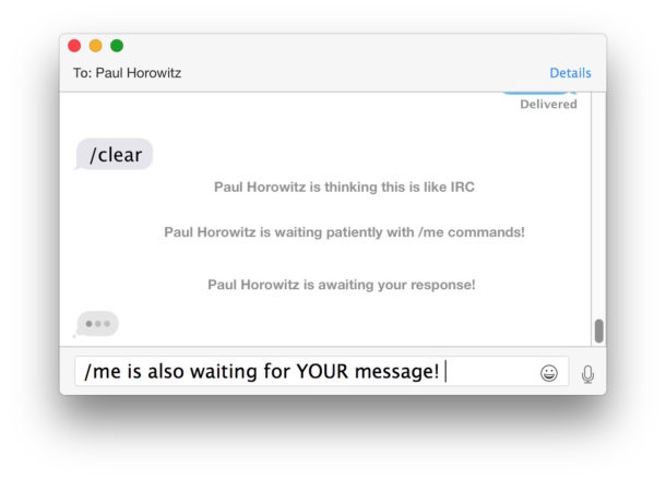 IRC broadcast commands in Messages for Mac