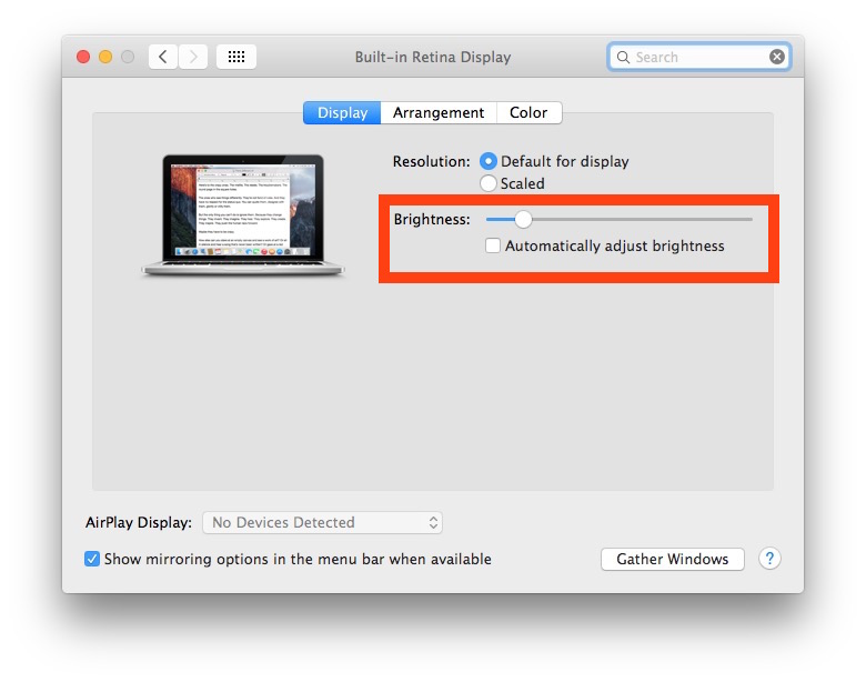 Adjust screen brightness in Mac OS X