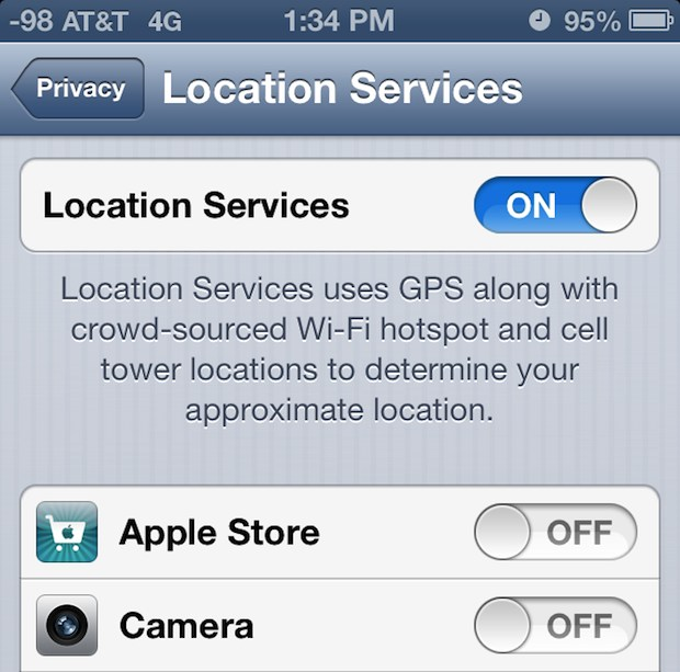 Disabling Camera Location EXIF data on iPhone