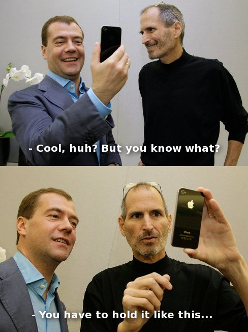 iphone 4 jobs and russian president