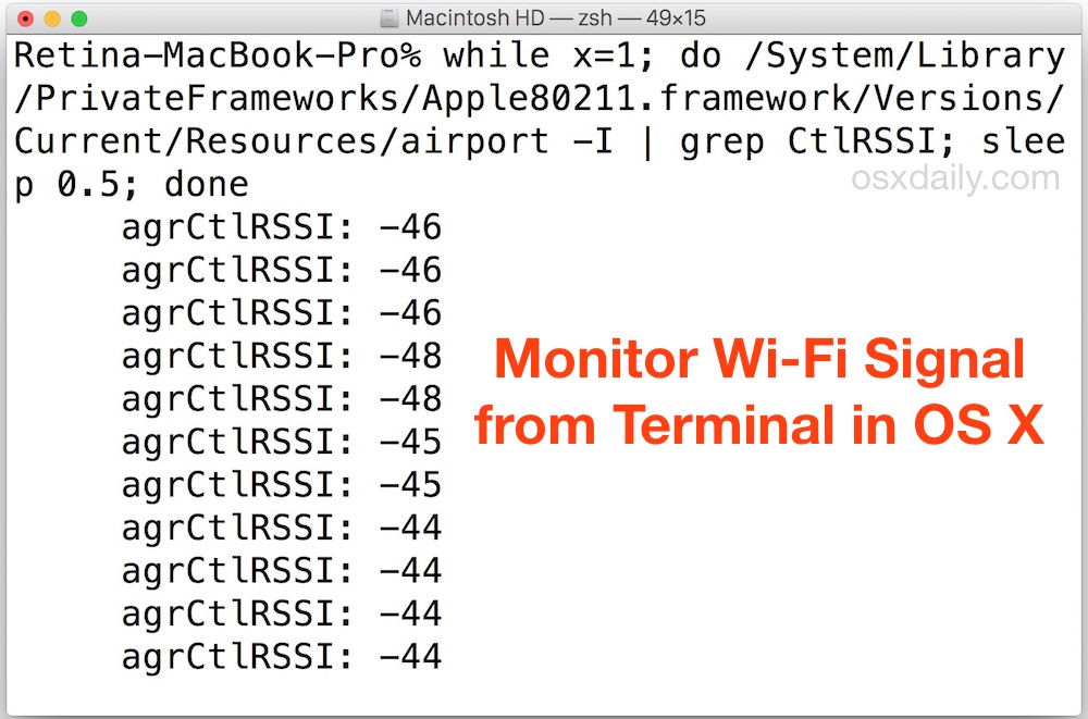 Monitor Wi-Fi Signal Strength from Command Line of Mac OS X