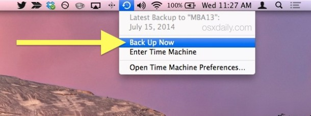 Start a back up with Time Machine from the menu bar in Mac OS X