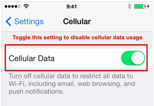 Turn off Cellular Data on the iPhone